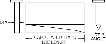 DIA ° ANGLE CALCULATED FIXED  DIE LENGTH